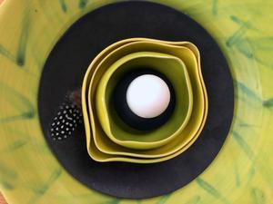 Keramik är något besökarna kommer att kunna se på utställningen. Den här skålen är skapad av Gisela Wollert-Olsson.