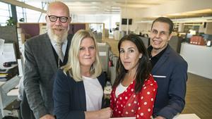 VLT:s chefredaktör och ansvarige utgivare Daniel Nordström (till vänster) driver ständigt ett utvecklingsarbete tillsammans med bland andra nyhetscheferna Helena Grahn och Cecilia Rindbäck Tiger samt redaktionschef och stf ansvarig utgivare Pasi Hiirikoski.