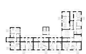 Så här ser den nya planlösningen ut när de gamla salarna och korridorerna blivit bostäder. På bilden syns det nya trapphuset och loftgången som gjorde att korridoren kunde förändras till boyta. Arkitekt Ida Westergren har lånat oss ritningen.