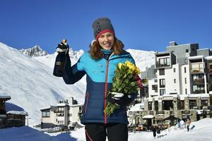 Tove Alexandersson tog emot gratulationerna i Tignes i franska alperna. Foto: Dan Eliasson/SvD/TT