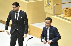 Jimmie Åkesson (SD) fortsatte att se Moderaterna och Sverigedemokraterna som en del i samma konservativa block. Ulf Kristersson (M) avvisade detta bestämt. Foto: Claudio Bresciani/TT
