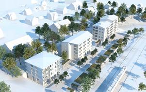 Nya förslaget: Huset närmast i illustrationen får fyra våningar, de andra husen fem våningar, med en påbyggnad med en sjätte våning på huset längst bort. Illstration: White Arkitekter AB