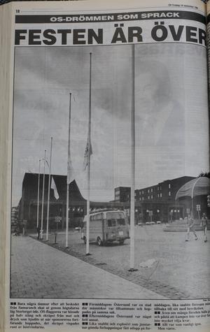 OS-flaggorna vajade på halv stång på Stortorget efter att Lillehammer fått spelen.