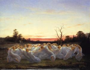 """""""Ängsälvor""""från 1850, målning av Nils Blommér."""