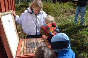 Biodlingskonsulenten Lotta Fabricius berättar för lyssnade barn om vad som händer i bikupan.