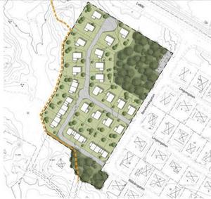 Situationsplan med föreslagen ny dragning av befintlig stig, redovisas som orange streckad linje. Illustration: Tengbom