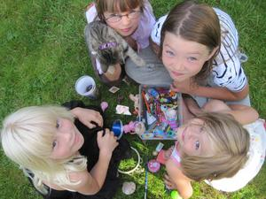 Ebba Westberg 6 år, Alicia Maguid 8 år, Lousie Kreft 9 år och Alice Blomdahl 4 år är hjärnorna bakom insamlingen.