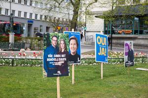 Valbudskap i Järnvägsparken.