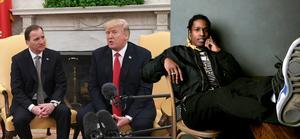 Stefan Löfven, Donald Trump och Asap Rocky. Bilden är ett montage. Foto: Taylor Jewell/Invision/AP samt Henrik Montgomery/TT / NTB scanpix
