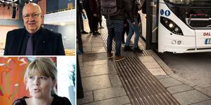 """""""Region Dalarna i år välja att införa denna service i egen regi skulle något annat tyvärr behöva stryka på foten – helt oansvarigt i tider då vårdsituationen redan balanserar på svag lina"""" skriver Ulf Berg (M) och Sofia Jarl (C): Foto: DT arkiv/montage"""