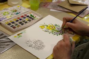 Sofie Hansson från Friggesund målade en påsklilja i akvarell.