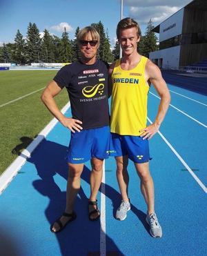 Andreas Gustafsson ihop med Ulrik Mattisson, som tränar honom i landslaget och i Falu IK. Foto: Anette Mattisson, Falu IK.