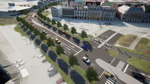 Den nya infarten till Inre hamnen går via Nya Hamngatan.  Bild: Trafikverket.