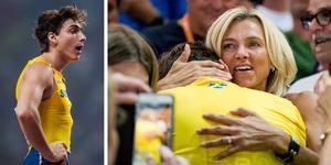 Foto: Bildbyrån. Mamma Helena Duplantis (t.h.) kramar om sonen efter VM-silvermedaljen i Doha.