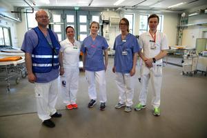Mottagningen för skadade iordningställdes på cirka 45 minuter på Mora lasarett, verksamhetschef Thomas Lindberg, akuten Mora,  Jonna Löf, Marit Hjort, Linn Ljunggren och Andreas Johansson deltog i övningen.