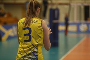 Linda Andersson laddar upp för en serv i förlustmatchen mot Tjeckien.