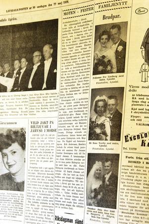 I ett av tidningsläggen på Ljusdals-Postens redaktion fann makarna Lindström tidningssidan med brudfotot (längst ner i raden)