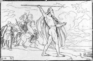 Oden kastar sitt spjut mot anstormande vaner. Asarna och vanerna förenades  efter ett bittert krig. Illustration Lorenz Frølich från 1895.