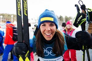 Charlotte Kalla åkte hem sina andra medalj på OS i Sydkorea under torsdagen. Bild: Carl Sandin/Bildbyrån