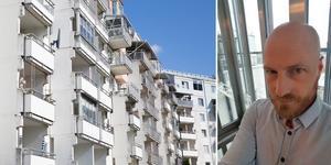 Lägenheter som tillhör Telge bostäder i Saltskog. Till höger: Kristoffer Burstedt, förhandlingsstrateg på Hyresgästföreningen region Stockholm. Foto: Monika Nilsson Lysell / Privat