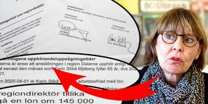 I nya avtalet får Karin Stikå Mjöberg 145 000 kronor i månaden. Sista året innan 65-årsdagen är hon arbetsbefriad med full lön. Montage. Foto: Claes Söderberg och Klockar Mattias Nääs
