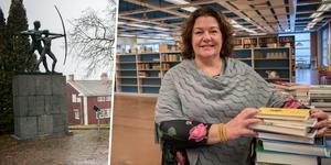 Tina Sjöberg bor i den gamla vaktmästar- och lärarbostaden Lillstugan på Brunnsvik. Just nu har hon fullt upp med att sortera litteraturen i det som ska bli en återupplivad bokstuga.