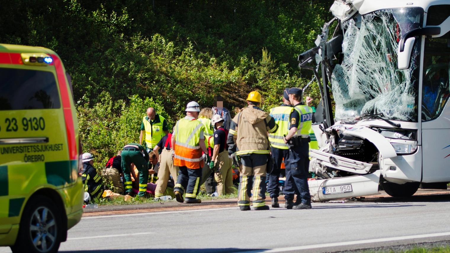 Bussolycka orsakade totalstopp