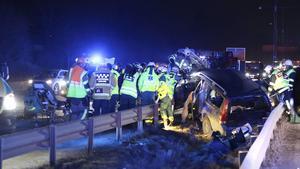 Foto från olyckan den 27 mars 2016 då Clas Jacobsson dog, och särbon Nina Lagh skadades. Foto: Stefan Reinerdahl