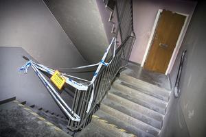Trapphuset var avspärrat under onsdagen, men hävdes senare.