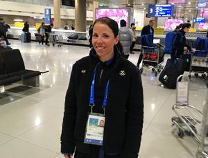 Charlotte Kalla har landat i Seoul. Bild: Petter Nilsson/TT.