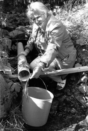 På 1980-talet var det kommunala vattnet i Laxsjö dåligt. Många tvingades göra som Sonja Andersson, hämta vatten i en kallkälla, för att få drickbart vatten.