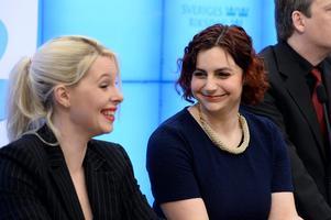 Hanna Wigh och Paula Bieler  var två av Sverigedemokraternas få framträdande kvinnor i valet 2014. I dag är Wigh politisk vilde i riksdagen och kanske inte lika glad i sitt gamla parti. Foto: Leif R Jansson / TT