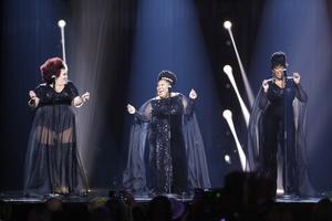 The Mamas framför sitt bidrag under  finalen i Melodifestivalen i Friends Arena i mars i år. Foto: Christine Olsson/TT