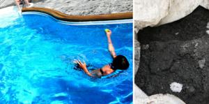 Underlaget under poolen på en fastighet i Kumla har visat sig vara batteriavfall. Nu måste familjen som äger fastigheten betala för saneringen. Bilden på poolen är tagen i ett annat sammanhang.