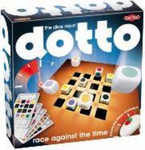 Dotto – the dice raceFabrikat: TacticAntal spelare: 2-5Ålder 6+Spelidé: Man ska använda de färgglada tärningarna för att lägga samma mönster som på kortet och det ska gå fort för det är på tid. Den som lägger tärningarna när tiden tar slut blir av med en bricka. Den som först blir av med sina brickor förlorar.Kommentarer: Ett enkelt och snabbspelat spel. Blev populärt direkt hemma hos oss.Betyg: 4