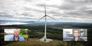 Billy Anklew (till vänster) är engagerad i Föreningen för småskalig vindkraft. Robert Svensson är ordförande i byalaget i Glöte.