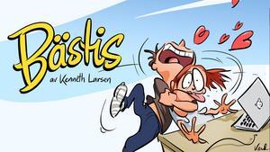 Stora ögon, överdriven mimik och glada färger när Kenneth Larsen tecknar Bästis.