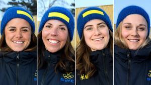 Anna Haag, Charlotte Kalla, Ebba Andersson och Stina Nilsson åker damernas OS-stafett. Bild: Carl Sandin/Bildbyrån