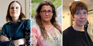 Sara Nylund (S), Anna Strandh Proos (M) och Ingeborg Wiksten (L).