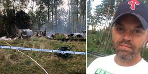 Niklas Nilsson bor granne med huset som brann ner till grunden. Foto: Nellie Pilsetnek Porträttfoto: Privat