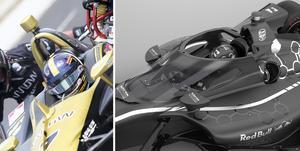 Dagens Indycarcockpit jämfört med 2020 års – enligt Indycar soch Red Bull Advanced Technologies konceptbilder på det nya huvudskyddet. Foto: Jonas Brännmyr, Chris Beatty/Indycar