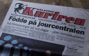 Kuriren för tolv år sedan. BB hade just lagt ner, och Eric föddes på Söderhamns sjukhus fast mamma egentligen skulle till Bollnäs.