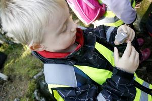 Elias Göransson har precis fått ett alldeles eget stentroll. Han var ett av Solgårdens 19 barn som följde med på Pia Möller Anderssons sista vandring i Stentrollsskogen på Söderåsen.