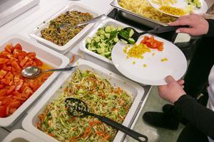 Vi vill kunna äta enligt kostcirkeln. Det borde finnas kött, pasta, potatis, någon sås och grönsaker. I dag fanns bara grönsaker och ris, skriver en elev. Bilden har inget direkt samband med insändaren.