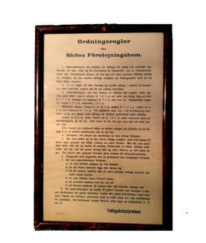 Ordningsreglerna på Sköns fattiggård.