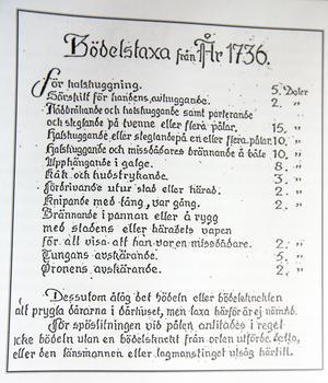 Bödelstaxan från 1736 är spännande läsning. Dåtidens straffskala var inte att leka med.