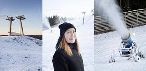 Evelina Widerberg, fritidssamordnare på Gävle kommun, hoppas att Hemlingbybacken kan öppna till jullovet. Men för det krävs både kyla och snö.