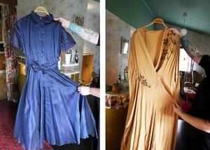 Två favoritklänningar som Veronica inte kan skiljas ifrån trots att en är för liten och en är för stor.