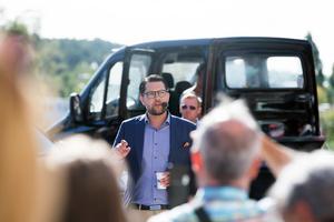 Sverigedemokraternas partiledare Jimmie Åkesson talade på Olof Palmes plats på onsdagen.