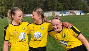 Glada miner – Hilles målskyttar: Maja Westling, Wilma Sjöberg och Judith Lundbäck.